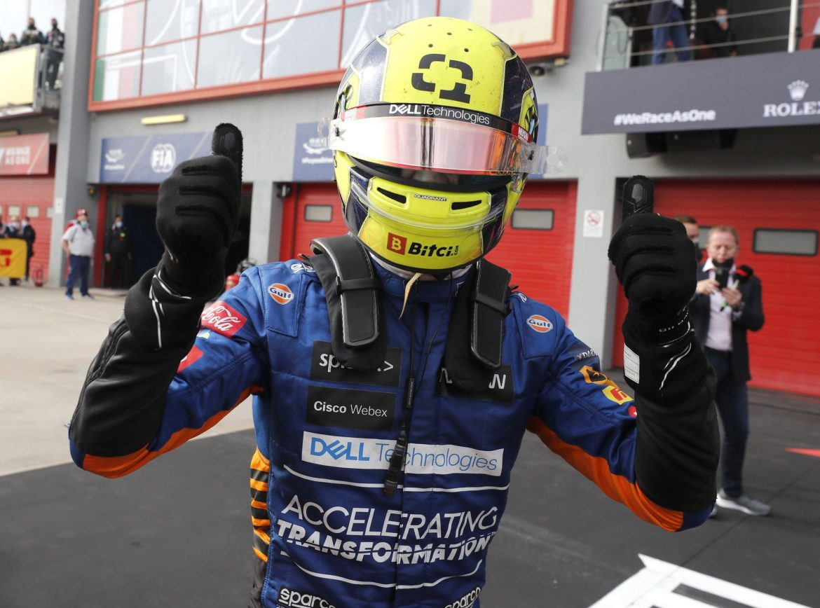 Lando Norris storms home in third place for McLaren